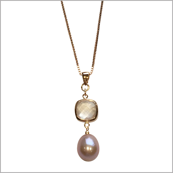 Lido Pearls Pendant - YP032 - Rose Gold - Rose Quartz-0