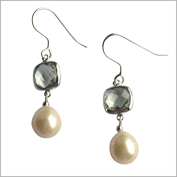 Lido Pearls Earrings - YP032E - Silver - Green Amethyst-0