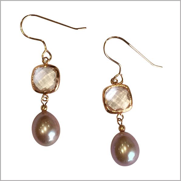 Lido Pearls Pendant - YP032 - Rose Gold - Rose Quartz-2407
