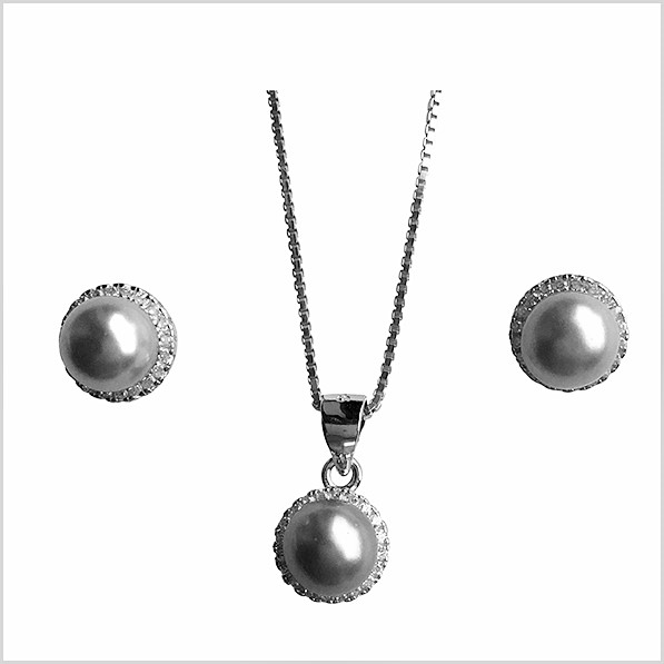 Lido Pearls Pendant & Earring Set - BS56 SIlver Grey Pearls-0
