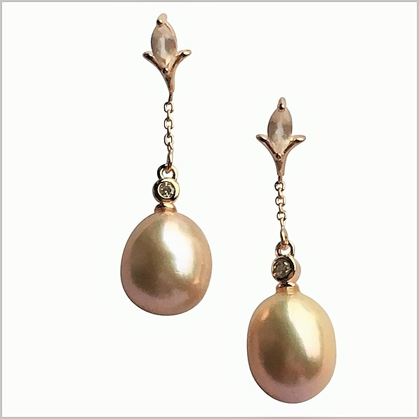 Lido Pearls Earrings - KS105E Rose Quartz-0